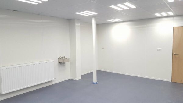 white hygienic pvc wall cladding in room