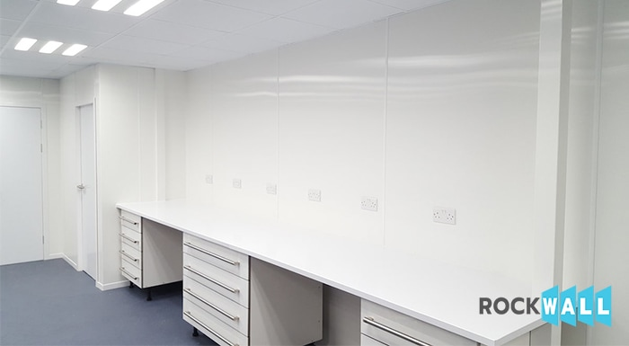 white hygienic pvc wall cladding lab