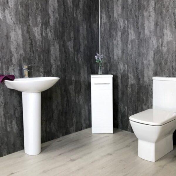 large brushed silver panels bathroom